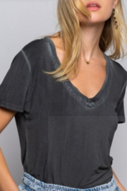 POL V-Neck Tee with Embroidered Trim - Product Mini Image