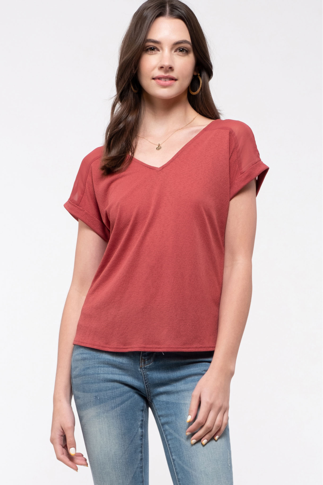 blu pepper  V-neck Tee with Lace Back Detail - Front Full Image