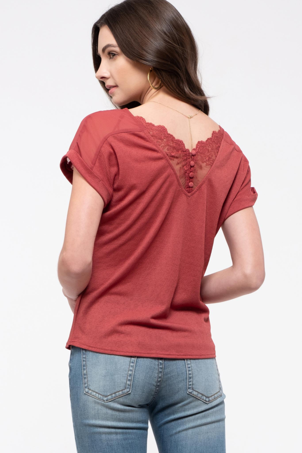 blu pepper  V-neck Tee with Lace Back Detail - Main Image