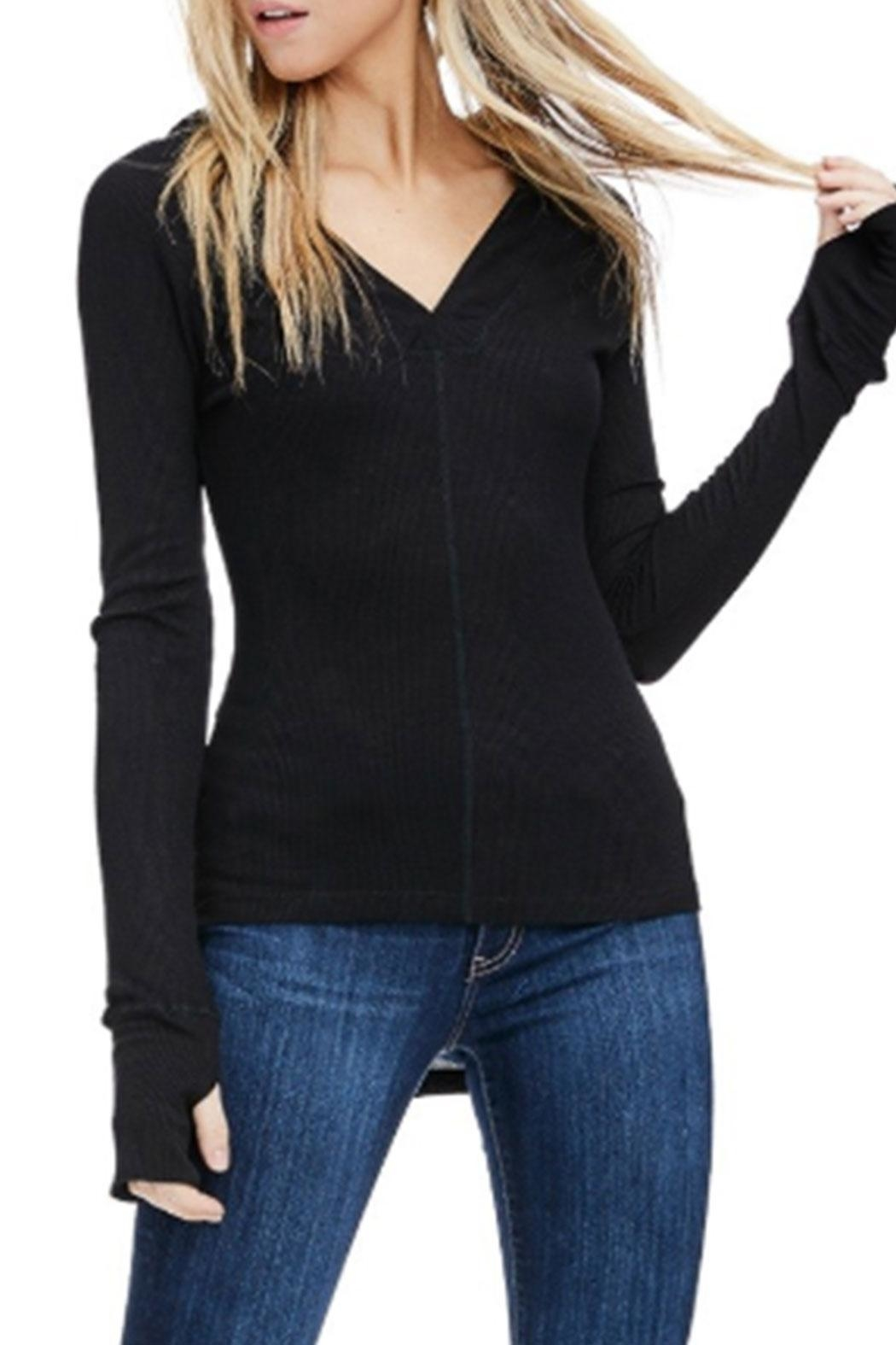 Sapphire O V-Neck Thermal Long-Sleeve - Side Cropped Image