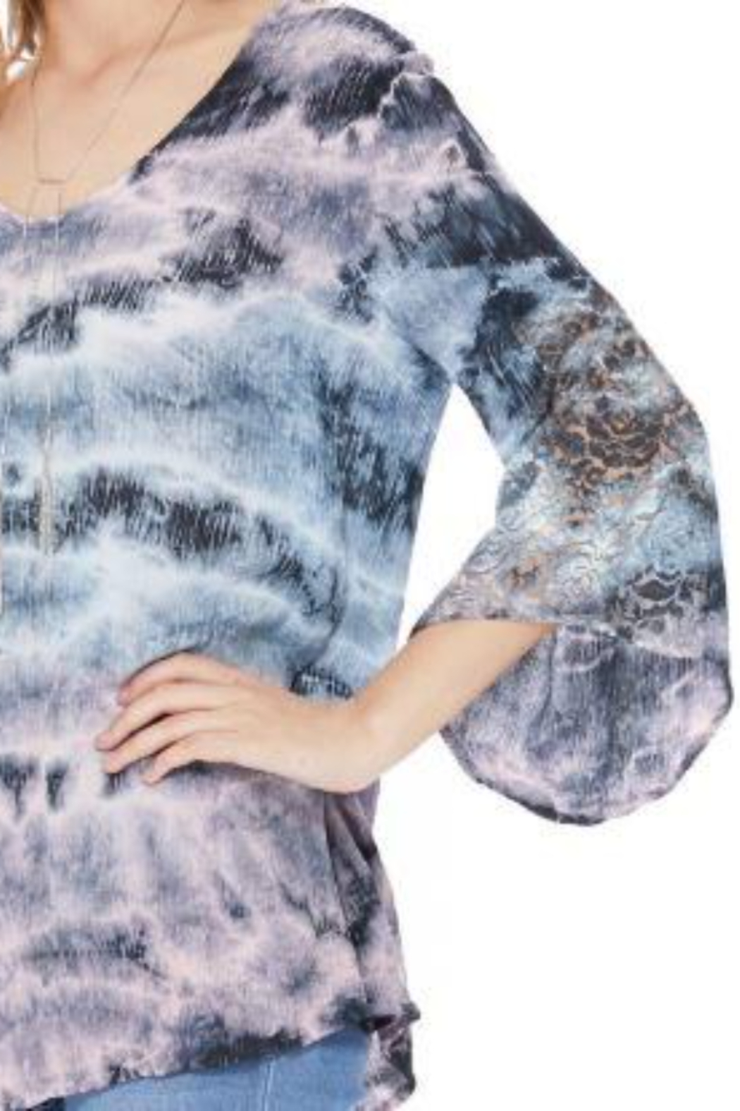 T Party V-Neck Tie-Dye Tunic - Side Cropped Image