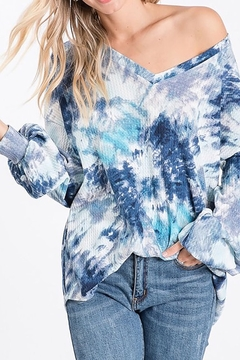 Bibi V Neck Tie Dye Waffle Top - Product List Image