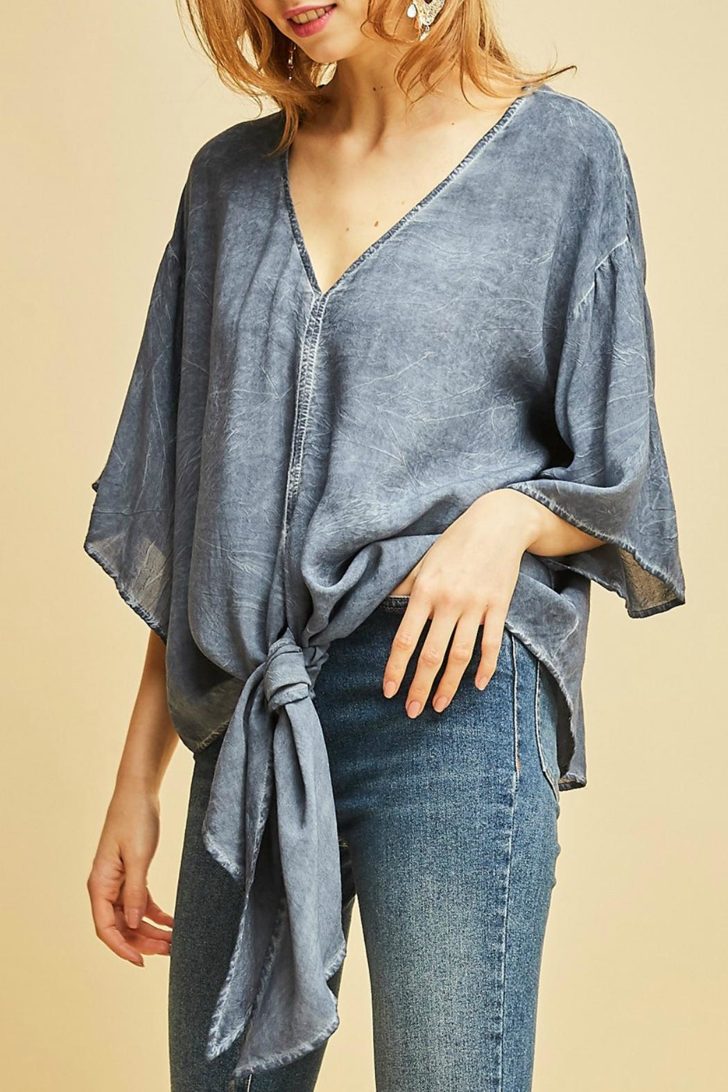 Entro V-Neck Tie Top - Front Full Image