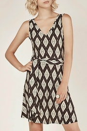 Viereck V neck Tie Waist Print Dress - Product Mini Image