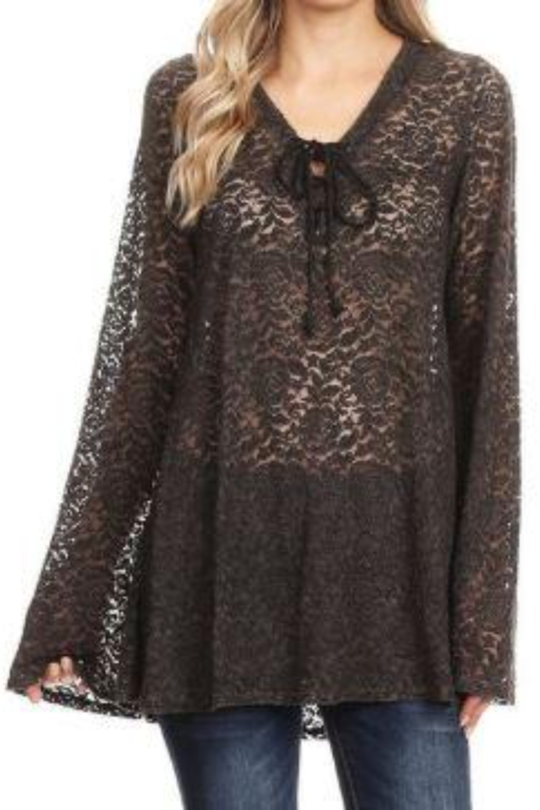 T Party V-Neck Tied Lace Tunic Top - Main Image