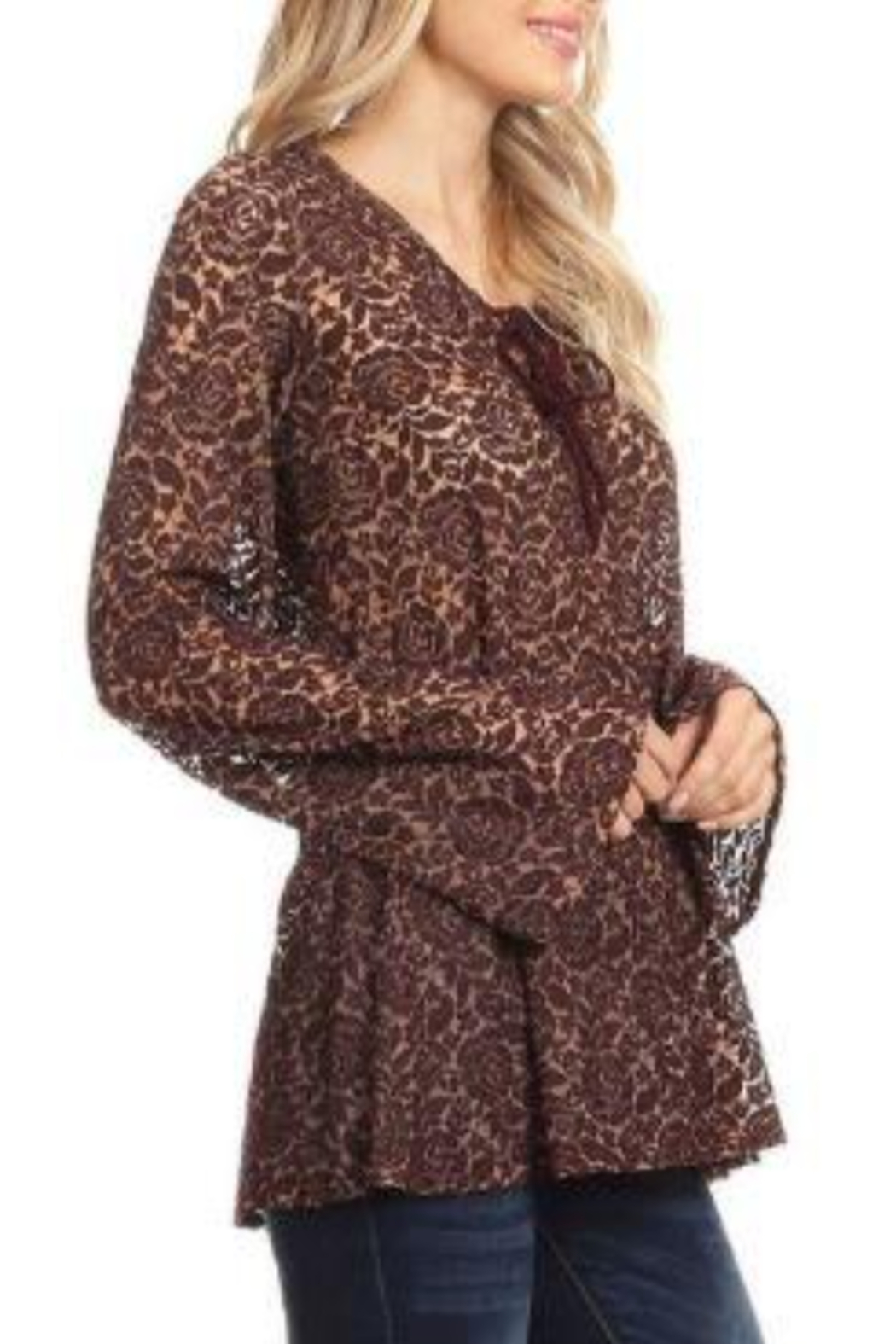 T Party V-Neck Tied Lace Tunic Top - Front Cropped Image