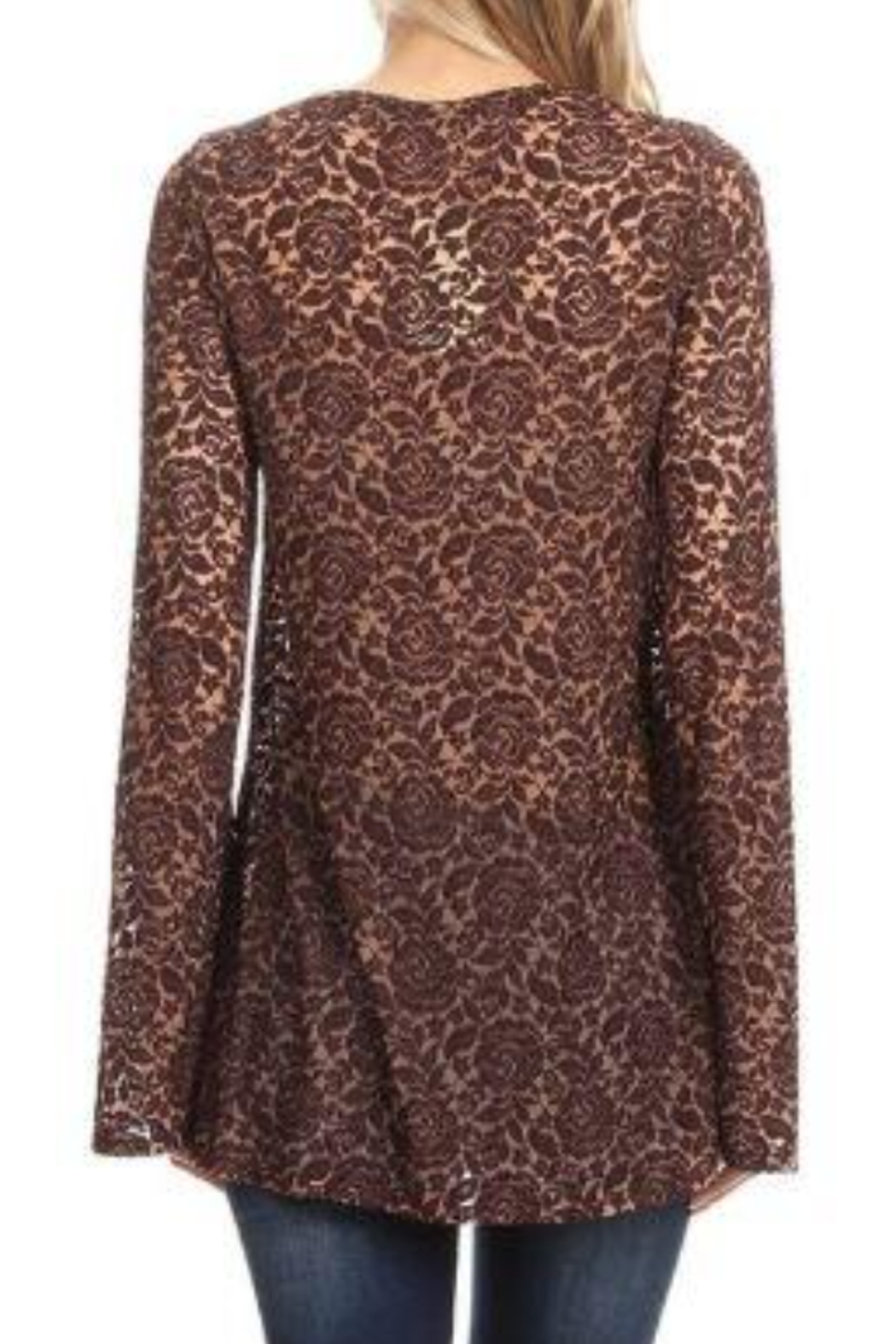 T Party V-Neck Tied Lace Tunic Top - Front Full Image