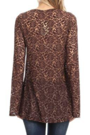 T Party V-Neck Tied Lace Tunic Top - Front full body