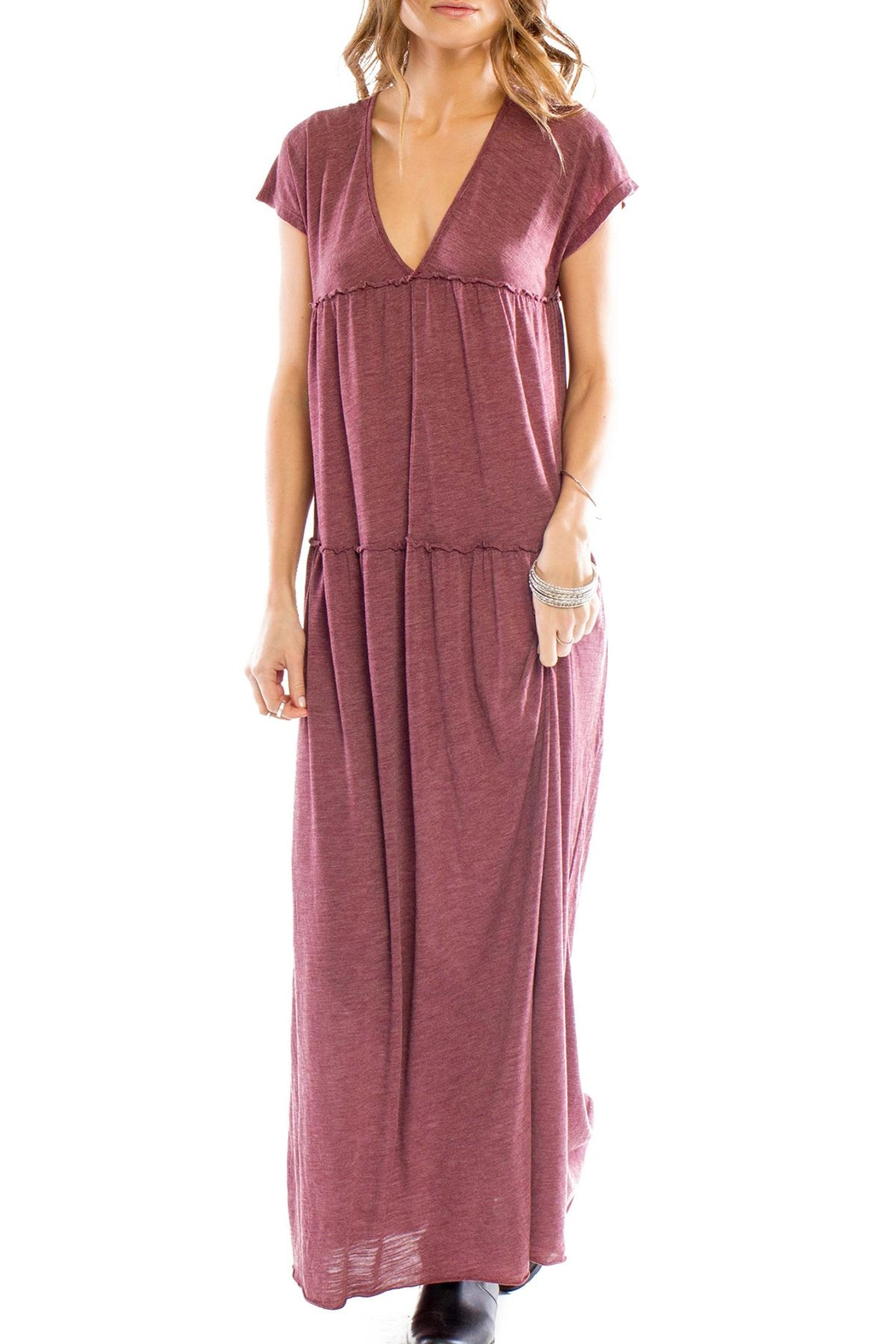 Anama V-Neck Tiered Maxi - Front Cropped Image