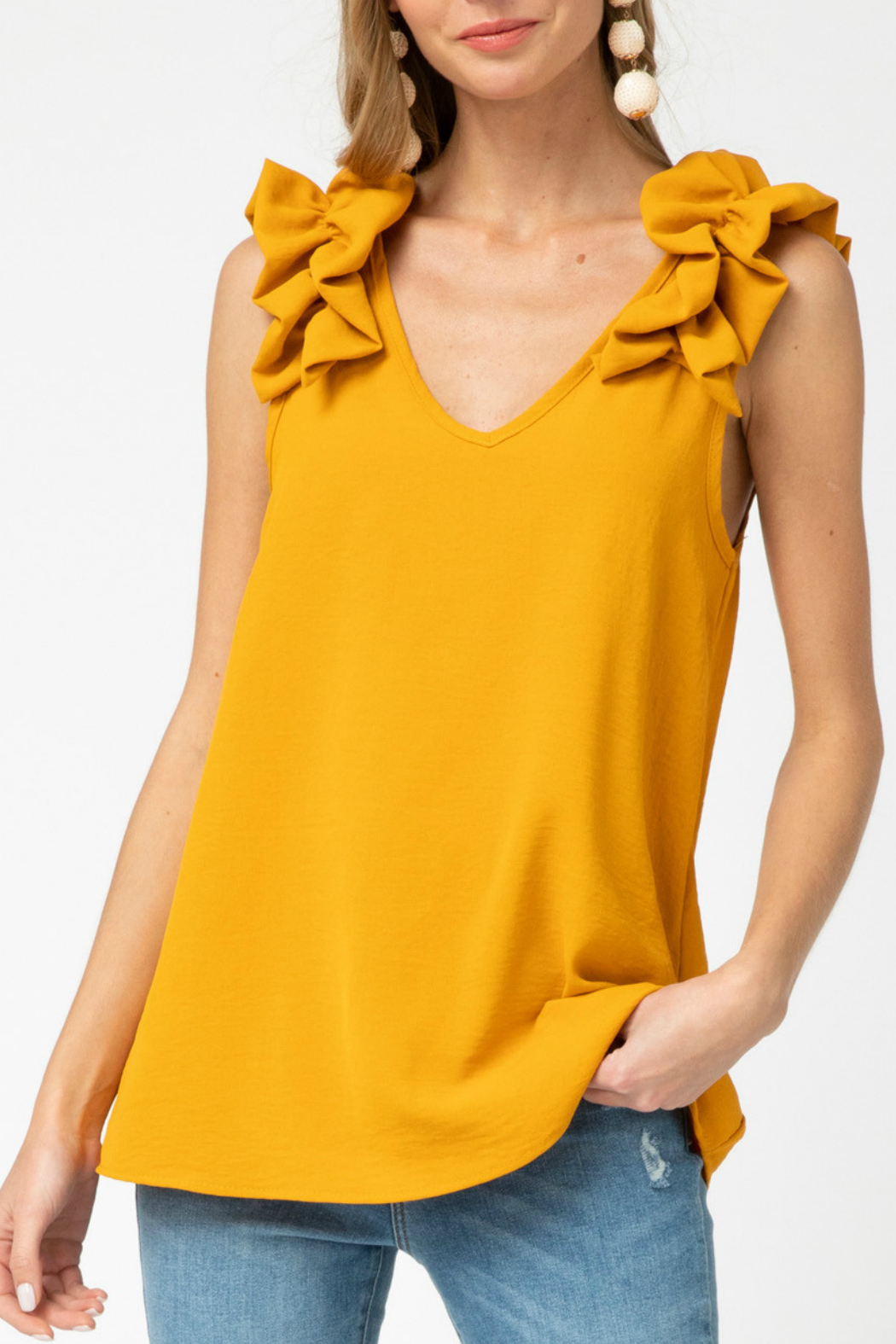 entro  v-neck top featuring ruffle detail - Main Image