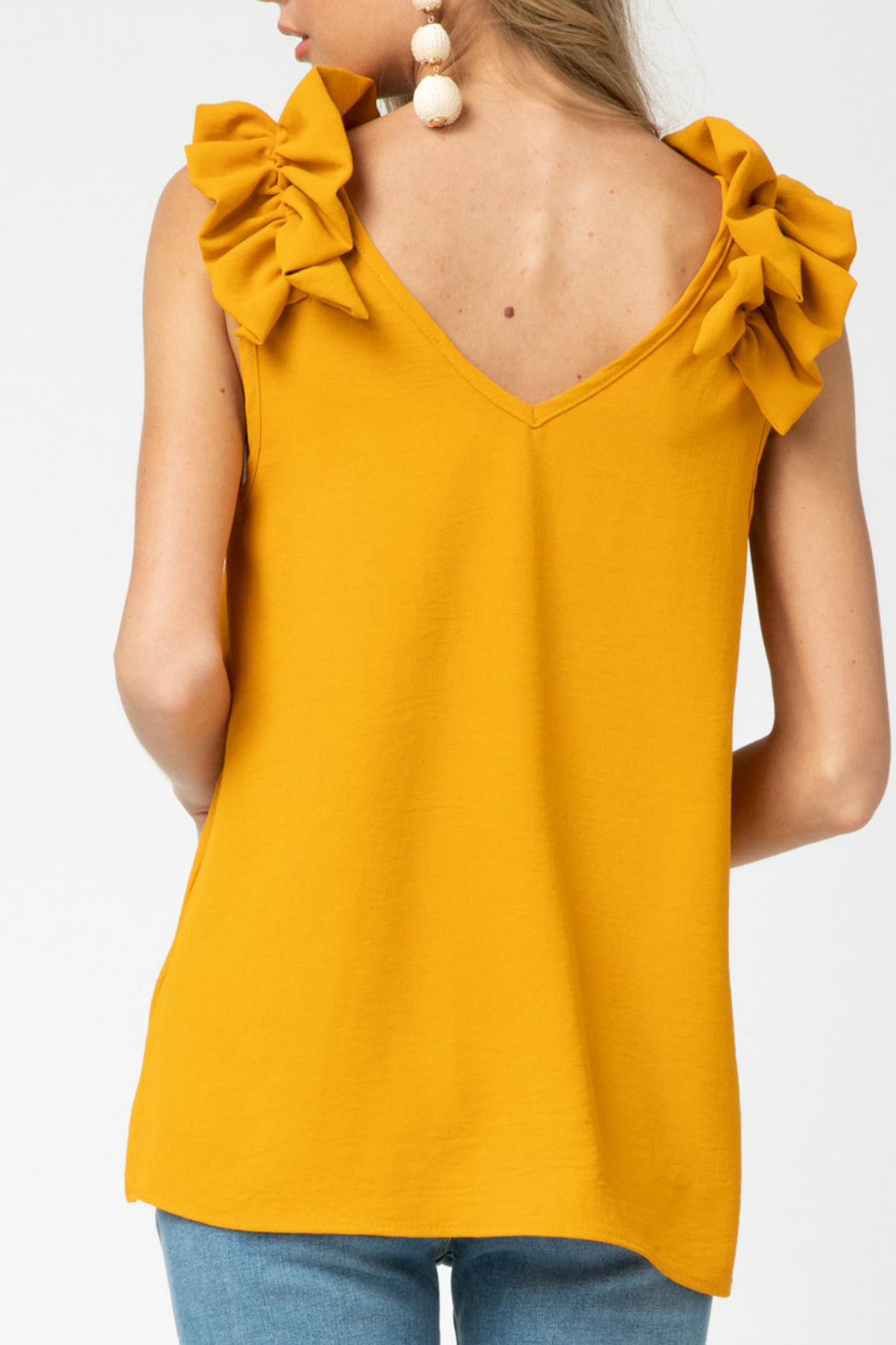 entro  v-neck top featuring ruffle detail - Side Cropped Image