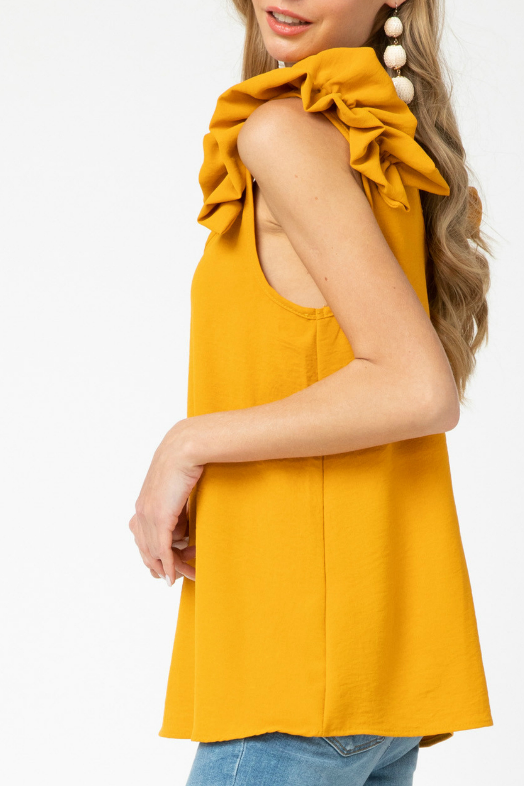entro  v-neck top featuring ruffle detail - Front Full Image