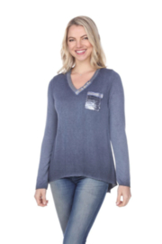 Flora Ashley V-neck Top with Sequined Pocket - Product Mini Image