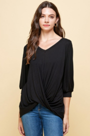 Les Amis V Neck Top with Twisted Waist Detail - Product Mini Image