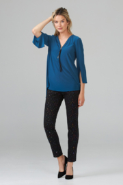 Joseph Ribkoff  V-neck tunic top, zip up front - Front full body