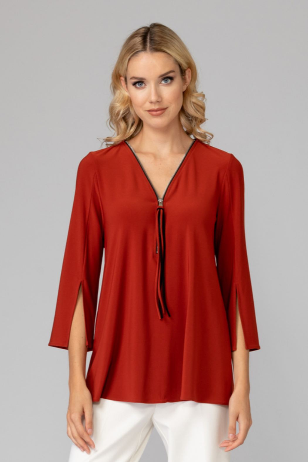 Joseph Ribkoff  V-neck tunic top, zip up front - Front Cropped Image