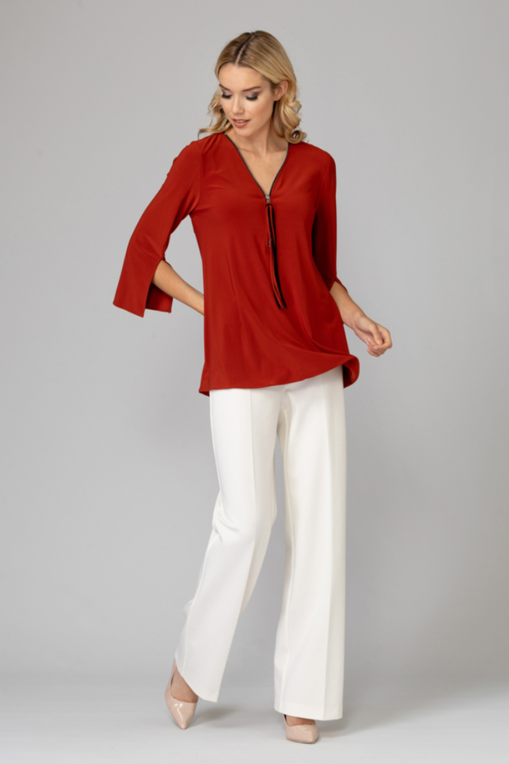 Joseph Ribkoff  V-neck tunic top, zip up front - Front Full Image