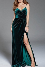 Jovani V-Neck Velvet Gown - Product Mini Image