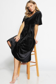Bibi V- Neck Velvet Midi Dress - Front full body