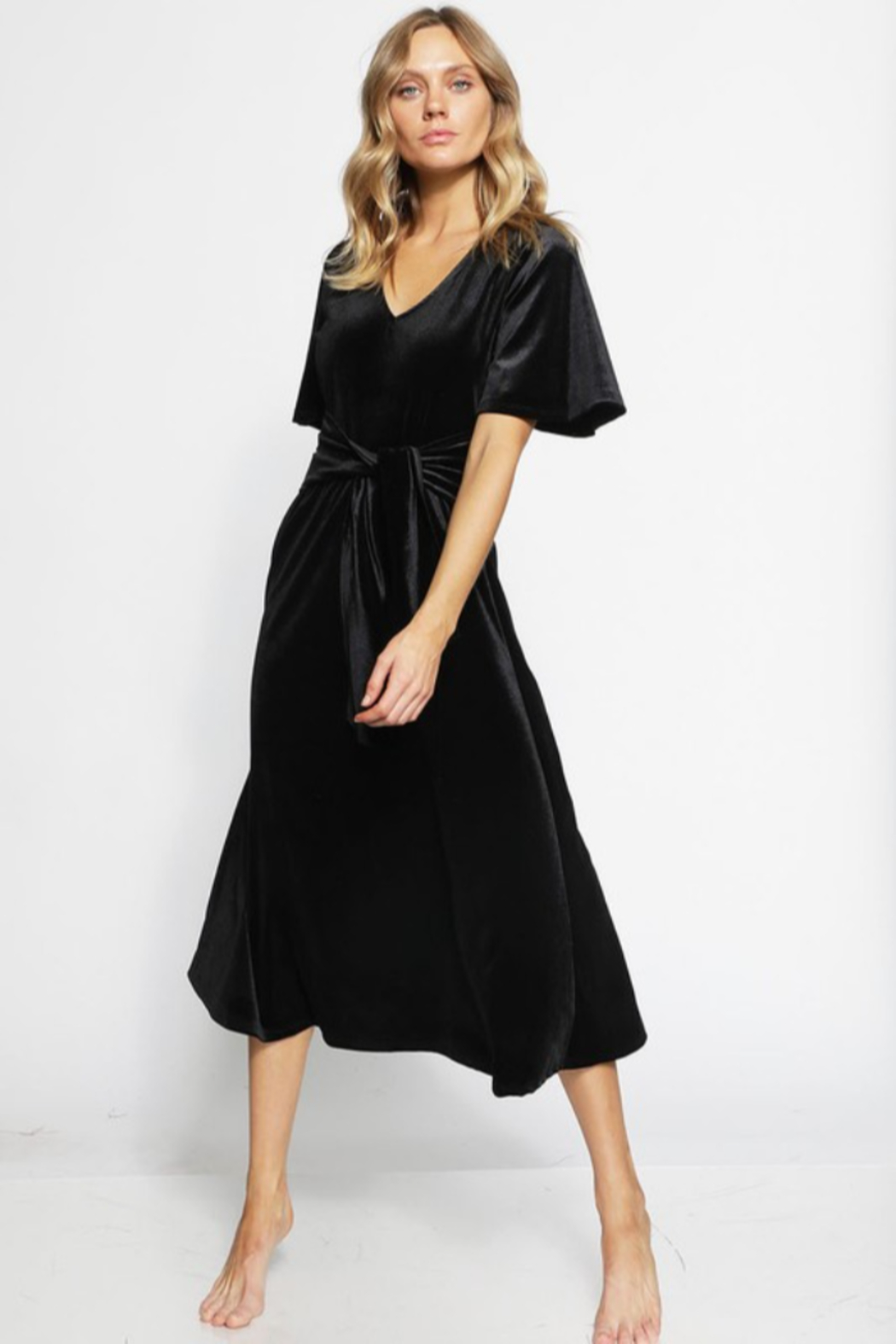 Bibi V- Neck Velvet Midi Dress - Main Image