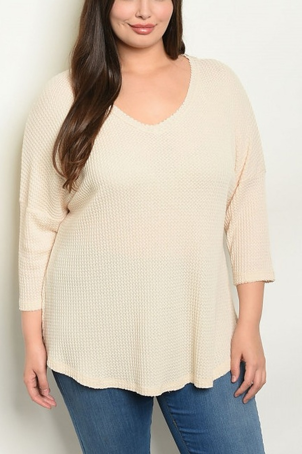 Lyn -Maree's V Neck Waffle Knit - Front Cropped Image