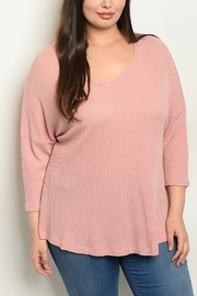 Lyn -Maree's V Neck Waffle Knit - Front cropped