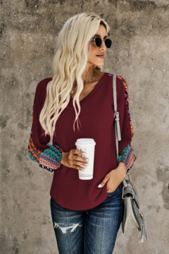 Shewin V Neck Waffle Knit Top with Patterned Sleeves - Alternate List Image