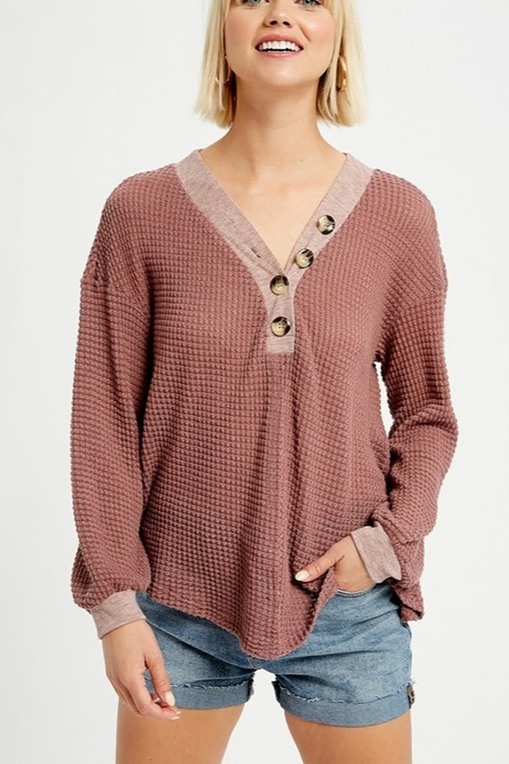 Listicle V-NECK WAFFLE TOP WITH BUTTONS - Main Image