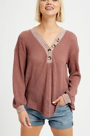 Listicle V-NECK WAFFLE TOP WITH BUTTONS - Front cropped