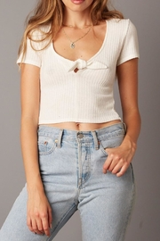 Cotton Candy V-Neck White Crop-Top - Product Mini Image