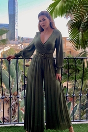 Va Va Voom Olive Pleated Jumpsuit - Product Mini Image