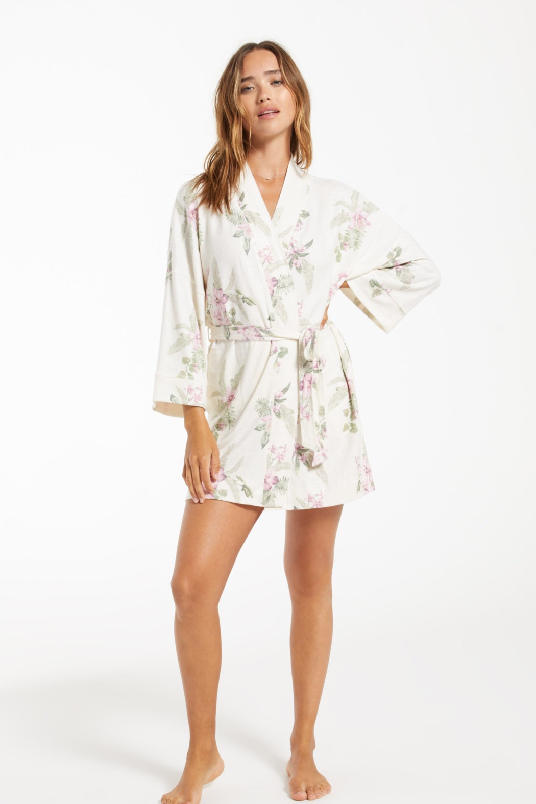 z supply Vacay Floral Robe - Front Full Image