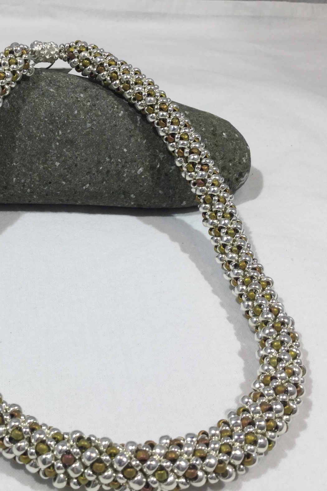 Vachon Designs Silver n Metallic Necklace - Front Full Image