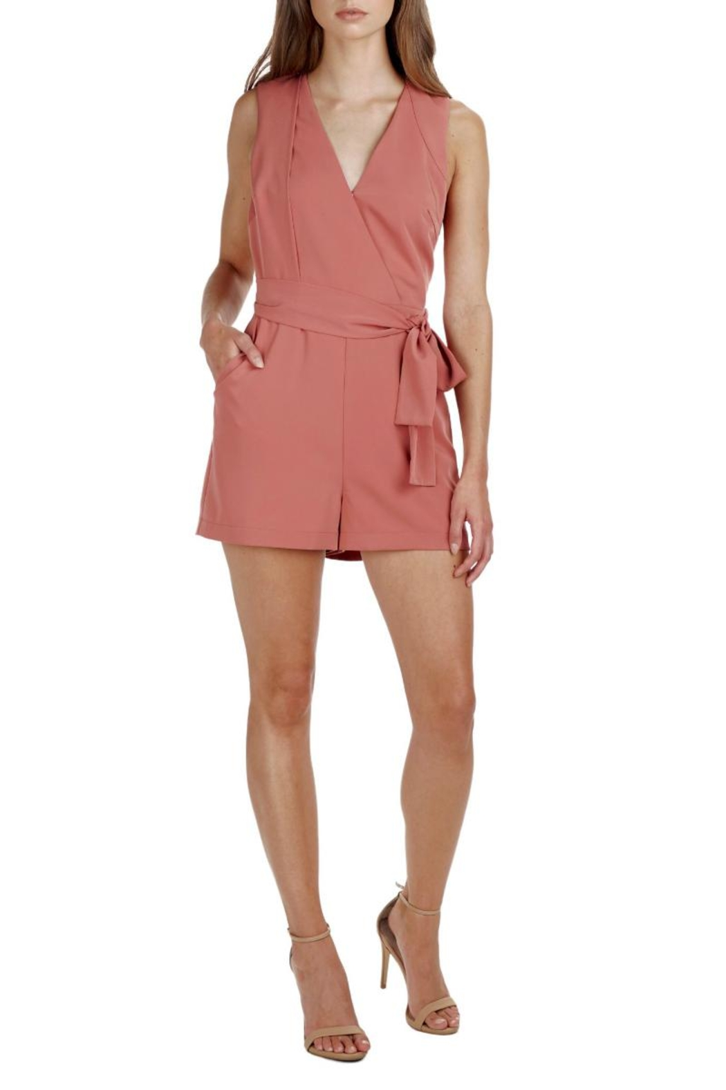 Adelyn Rae Val Woven Romper - Front Cropped Image