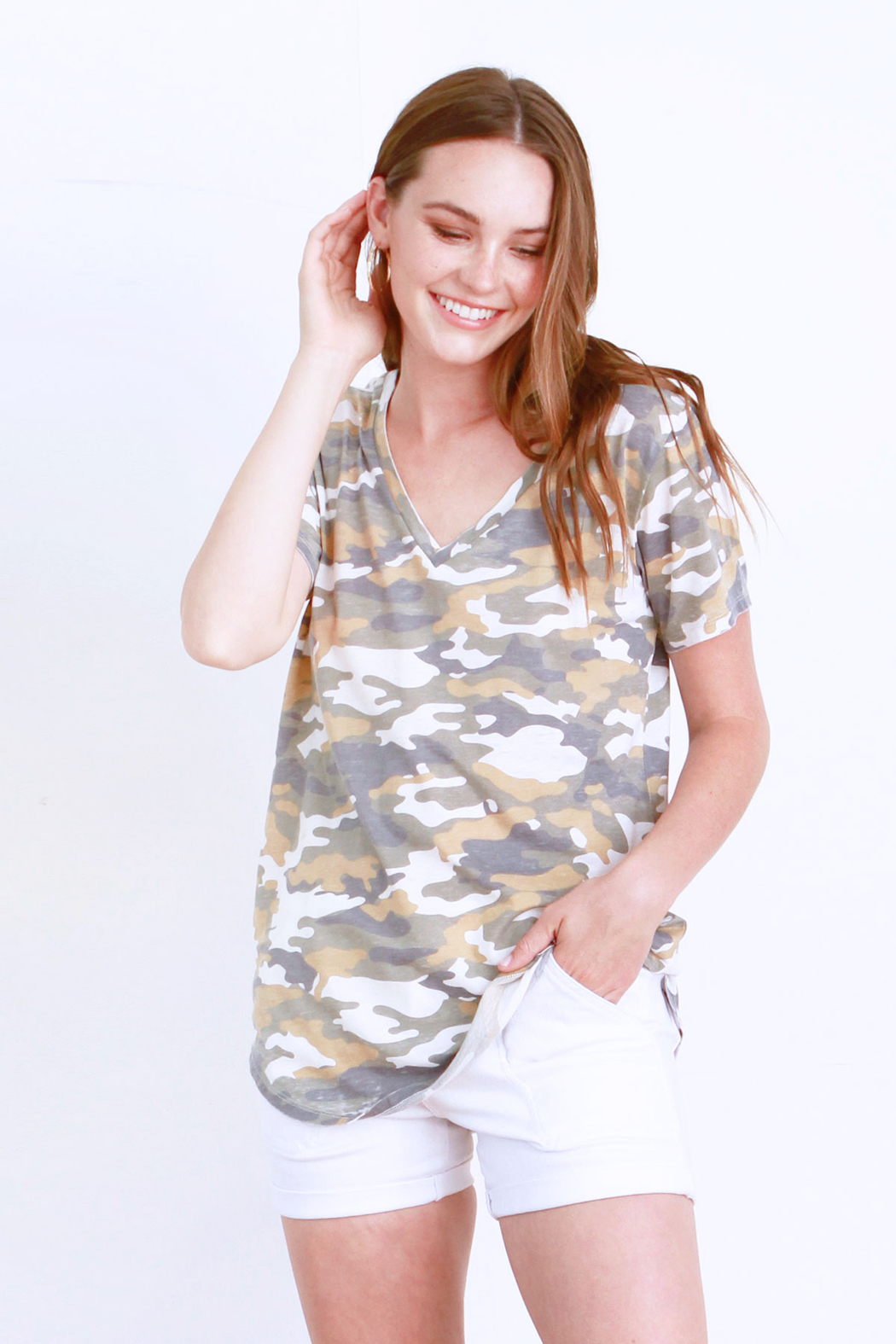 another love  Valentina Camo V Neck Tee - Front Cropped Image