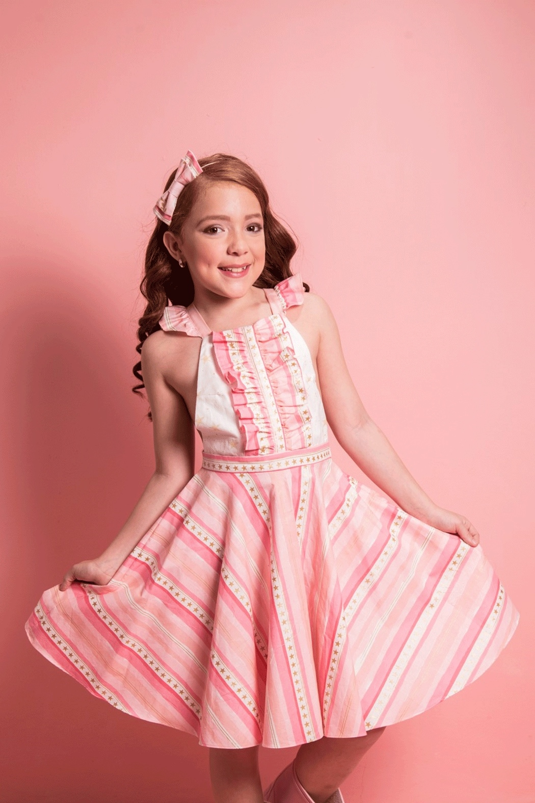 Mandy by Gema Valentina Dress Stripes and Stars Pink - Front Full Image