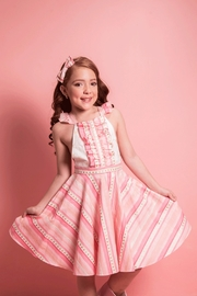 Mandy by Gema Valentina Dress Stripes and Stars Pink - Front full body