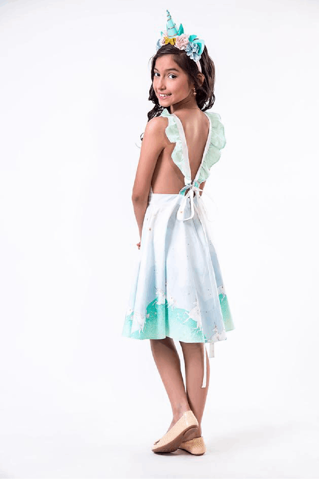 Mandy by Gema Valentina Dress Unicorn Parade Mint - Front Full Image
