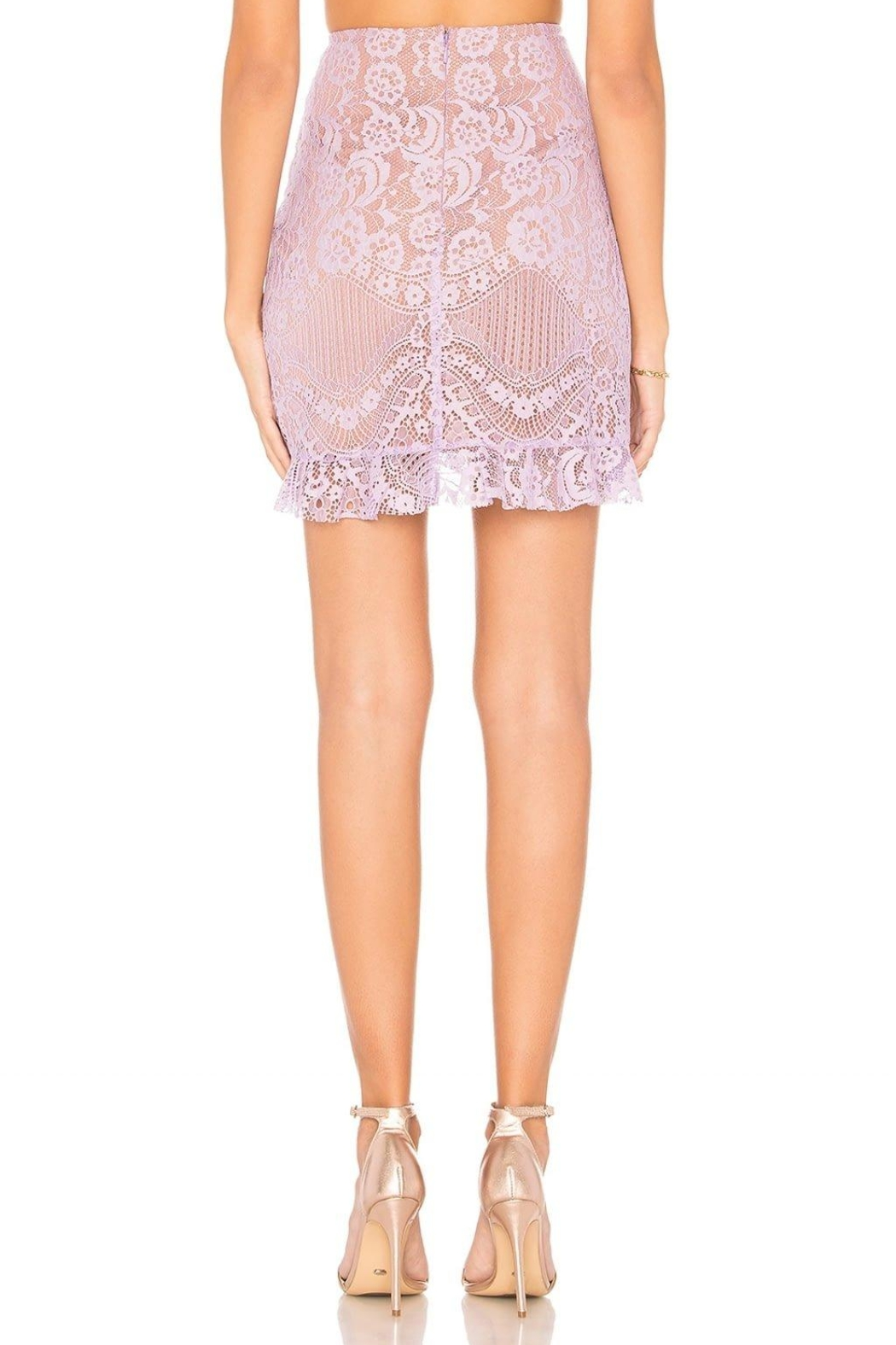 FOR LOVE & LEMONS Lace Mini Skirt - Back Cropped Image