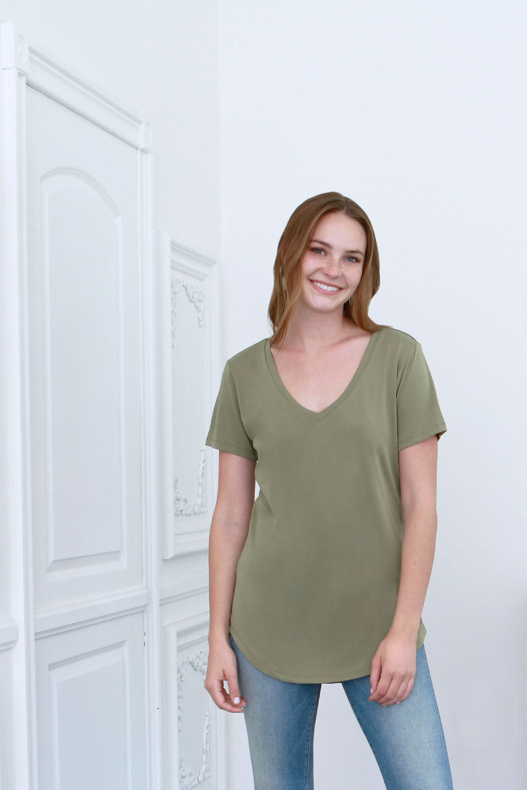 Another Love  Valentina V-Neck Tee - Front Cropped Image