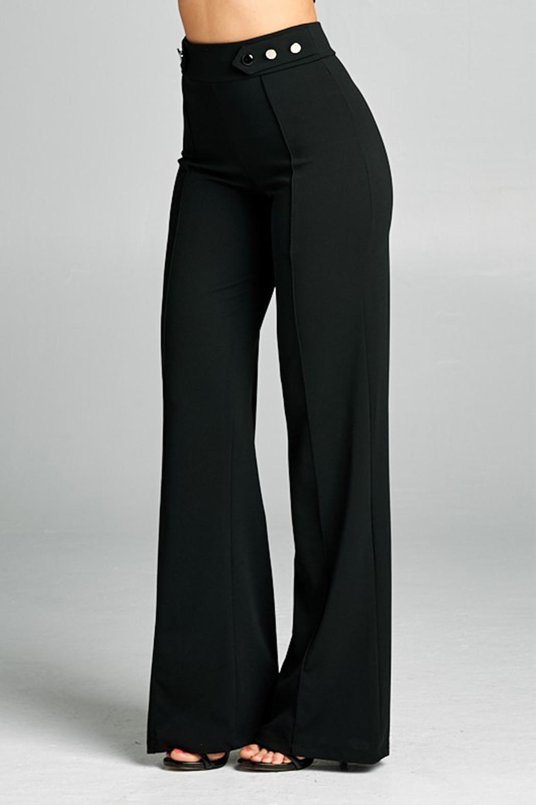 Valentine Button Detail Pants - Side Cropped Image