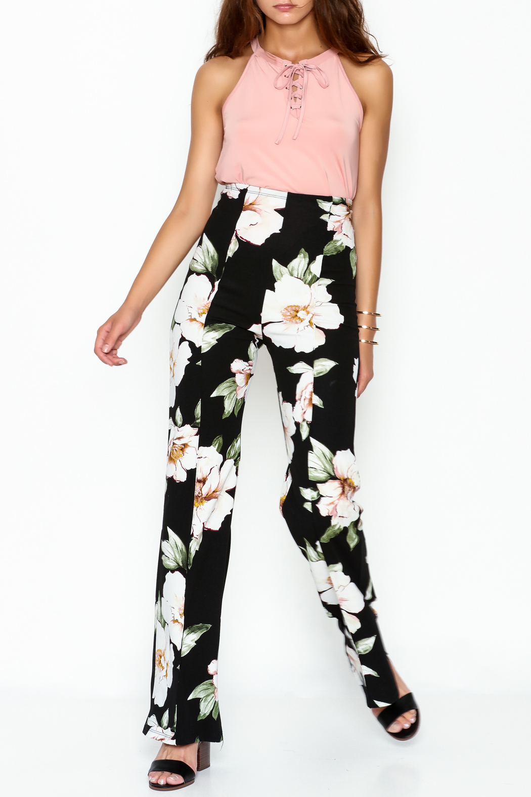 Valentine Floral Pants - Side Cropped Image