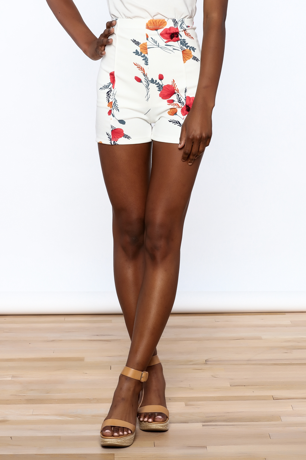 Valentine White Floral Shorts - Front Cropped Image