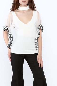 Valentine White Mesh Blouse - Product List Image