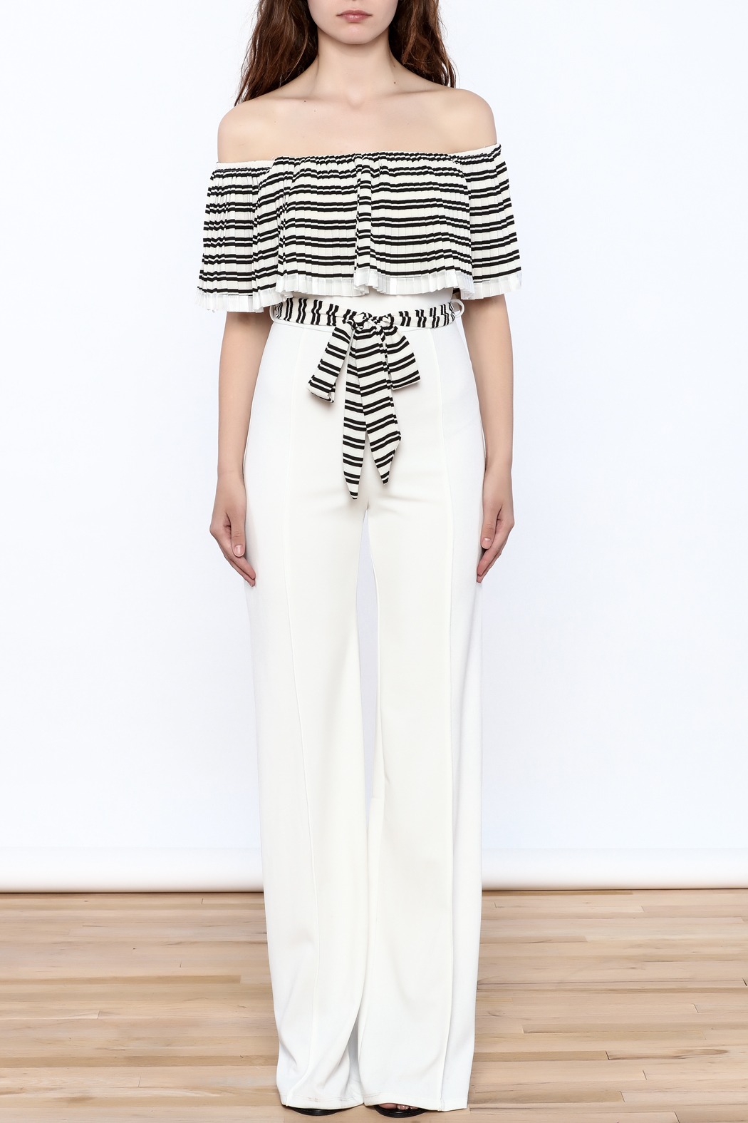 Valentine Striped Top Jumpsuit - Front Cropped Image