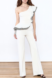Valentine White Ruffle Jumpsuit - Front full body