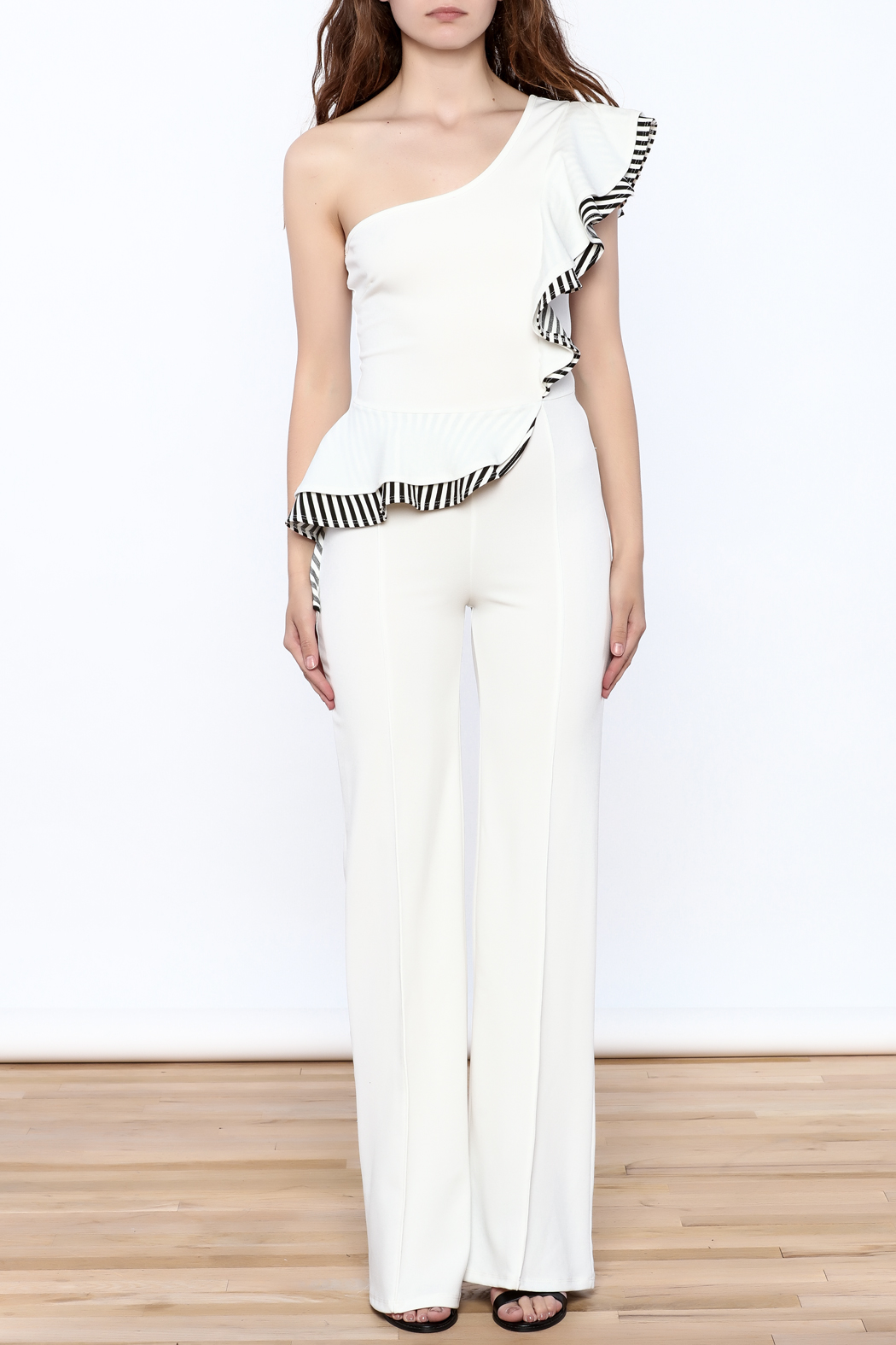Valentine White Ruffle Jumpsuit - Front Cropped Image