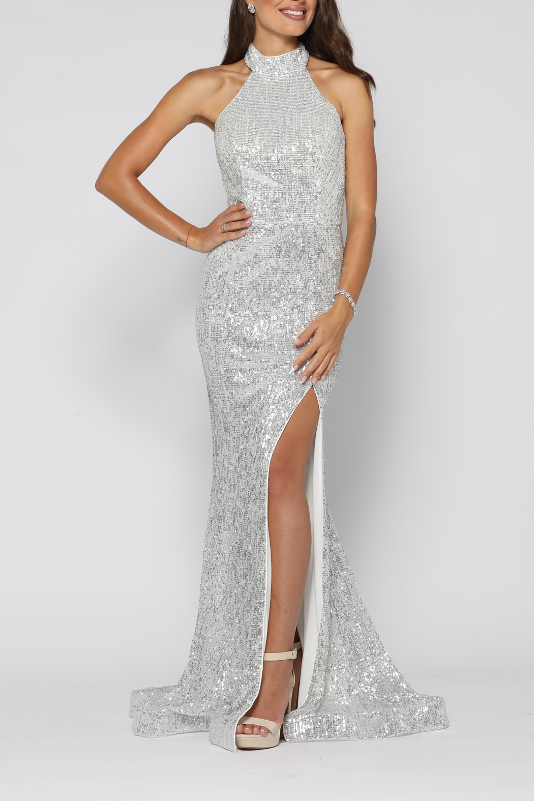 YSS the Label Valerie Gown Silver - Front Full Image