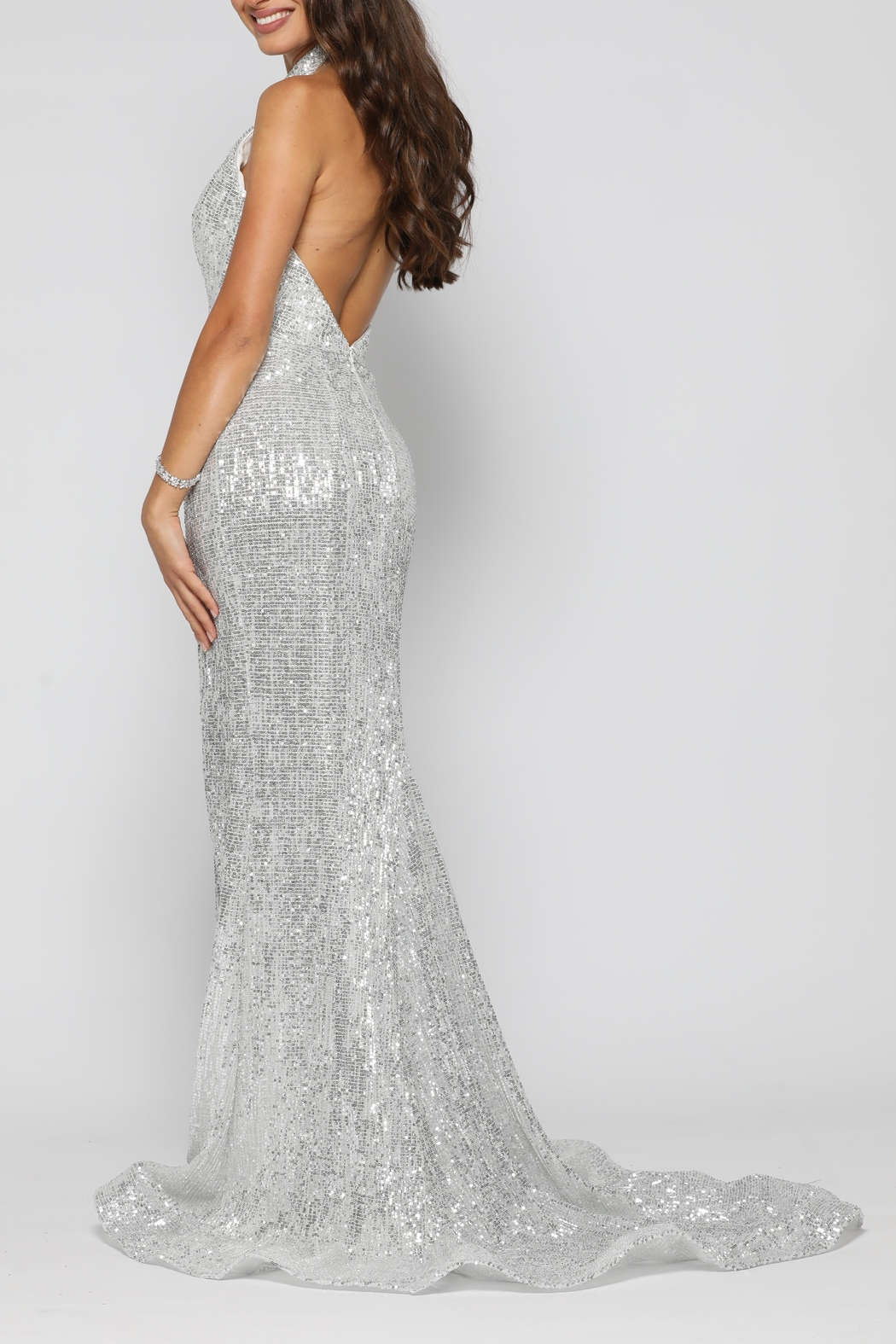 YSS the Label Valerie Gown Silver - Side Cropped Image