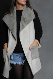 Maude Valerie Suede & Knit Long Vest w Pocket - Product Mini Image